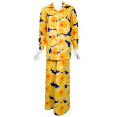 1972 Yves Saint Laurent Haute Couture Documented Bold Floral Print Pantsuit