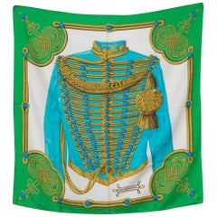 1972s Hermes Green Brandebourgs by Caty Latham Silk Scarf