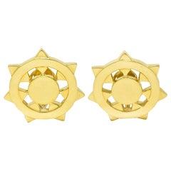 1973 Aldo Cipullo Cartier 18 Karat Yellow Gold Sunburst Ear-Clip Earrings