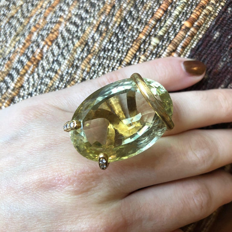 Women's or Men's 1973 Andrew Grima, Citrine, Diamond and Gold Ring For Sale