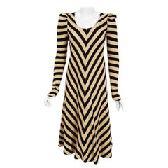 1973 Biba London Metallic Black & Tan Stripe Wool Knit Long-Sleeve Dress