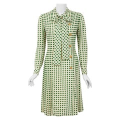 1973 Chanel Haute Couture Documented Deco Dot Print Silk Ascot-Bow Pleated Dress