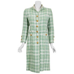 1973 Chanel Haute Couture Documented Seafoam Green Boucle Plaid Wool Coat