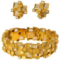 1973 David Thomas Diamond and Gold Bracelet and Earring Set