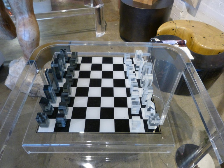American 1973 Executive Games Acrylic Chess Set with Board For Sale