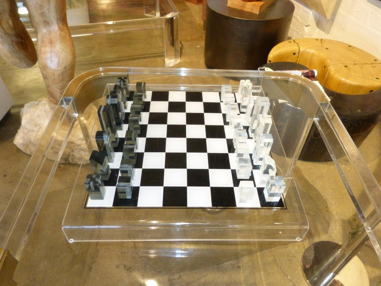 Cast 1973 Executive Games Acrylic Chess Set with Board For Sale
