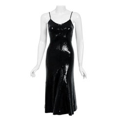 1973 Halston Black Sequin Silk Jersey Bias-Cut Plunge Hourglass Mermaid Dress