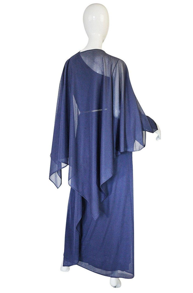 1973 Hubert de Givenchy Haute Couture One Shoulder Dress with Cape Overlay For Sale 13