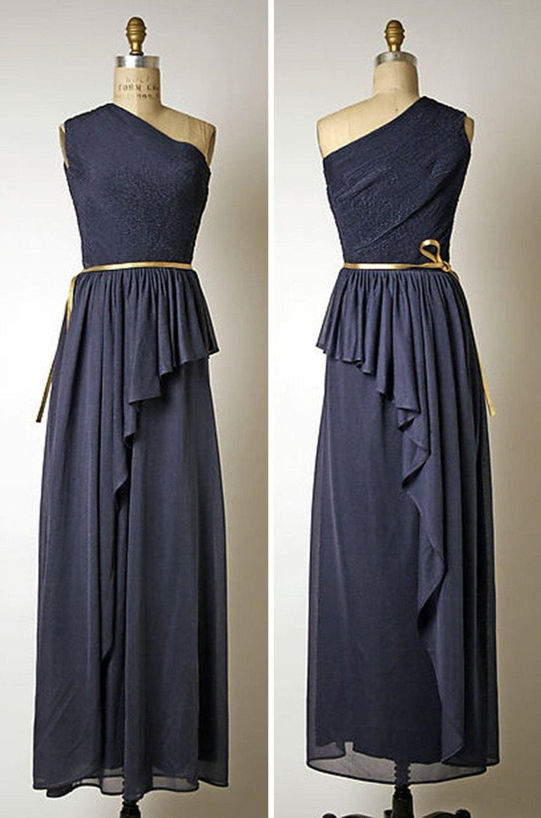 1973 Hubert de Givenchy Haute Couture One Shoulder Dress with Cape Overlay For Sale 15