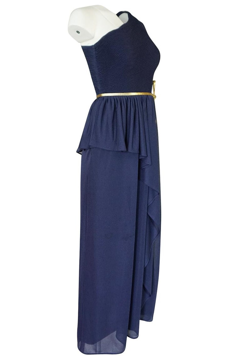 1973 Hubert de Givenchy Haute Couture One Shoulder Dress with Cape Overlay In Excellent Condition For Sale In Rockwood, ON
