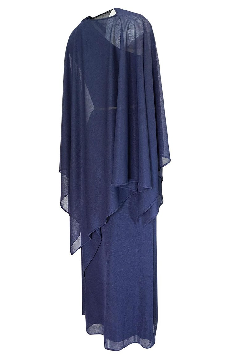1973 Hubert de Givenchy Haute Couture One Shoulder Dress with Cape Overlay For Sale 3