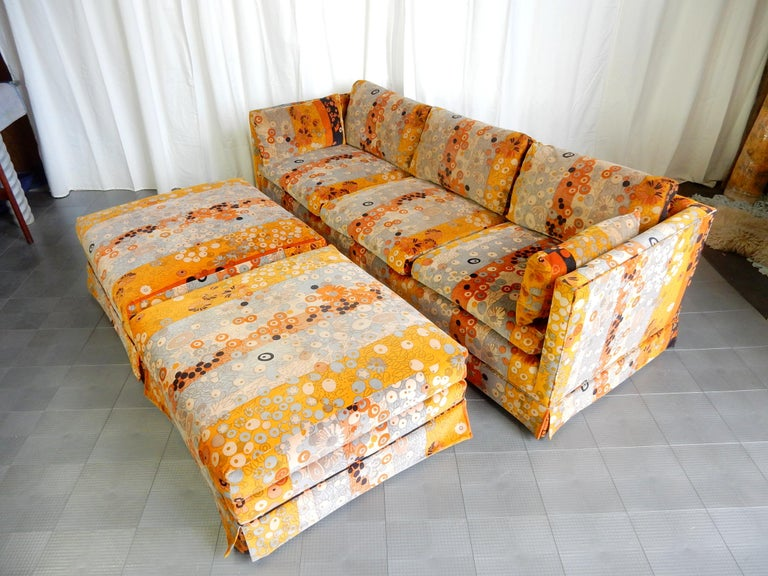 Mid Century Jack Lenor Larsen ~Primavera~ Velvet Playpen Sofa and Ottomans For Sale 4