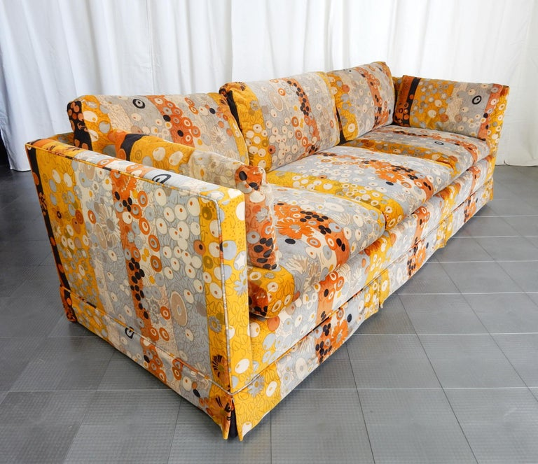 Gorgeous down filled sofa upholstered in Jack Lenor Larsen Primavera velvet with a pair of oversize matching ottomans. This is a huge living room set, gently used and in amazing clean condition with no holes, stains or odors. Dated 1973 on