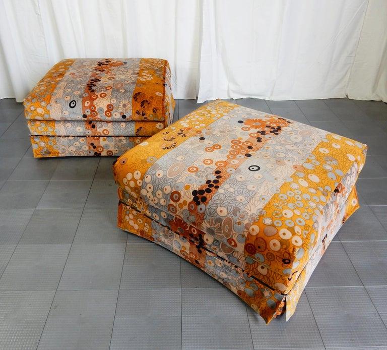 Mid-Century Modern Mid Century Jack Lenor Larsen ~Primavera~ Velvet Playpen Sofa and Ottomans For Sale