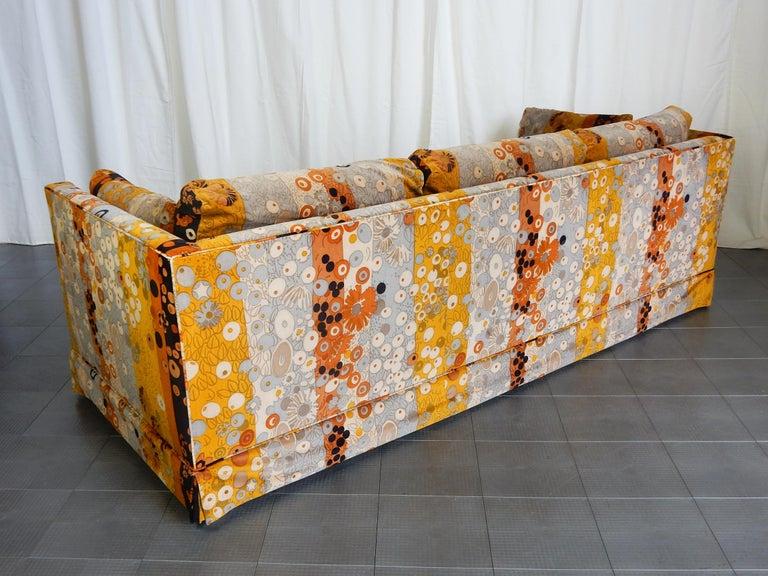 Mid Century Jack Lenor Larsen ~Primavera~ Velvet Playpen Sofa and Ottomans In Good Condition For Sale In Las Vegas, NV