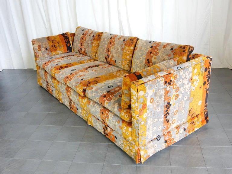 Upholstery Mid Century Jack Lenor Larsen ~Primavera~ Velvet Playpen Sofa and Ottomans For Sale