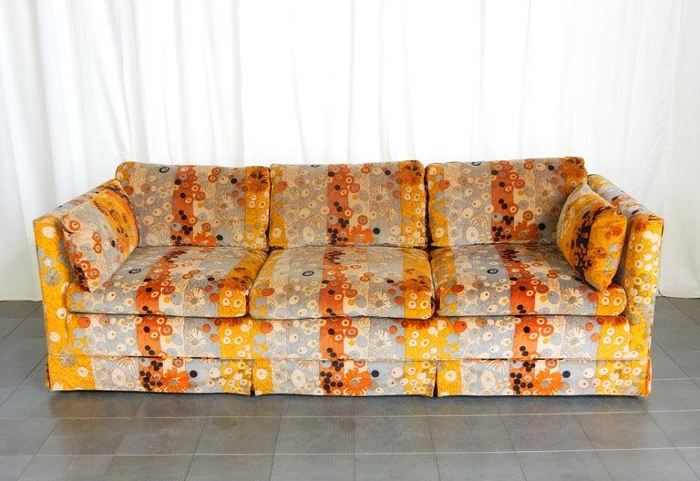 Mid Century Jack Lenor Larsen ~Primavera~ Velvet Playpen Sofa and Ottomans For Sale 1