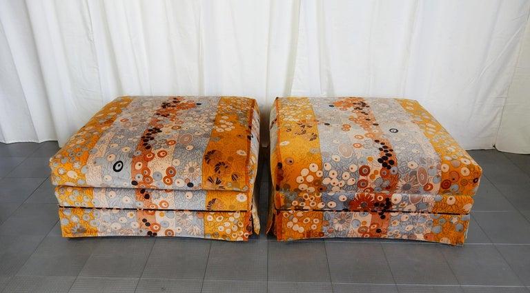 Mid Century Jack Lenor Larsen ~Primavera~ Velvet Playpen Sofa and Ottomans For Sale 2