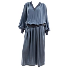 1973 Missoni Vintage Steel Blue Dress w Rope Belt & Lucite Buckle