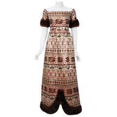 1973 Oscar de le Renta Metallic Silk Brocade Mink Fur Off-Shoulder Evening Gown