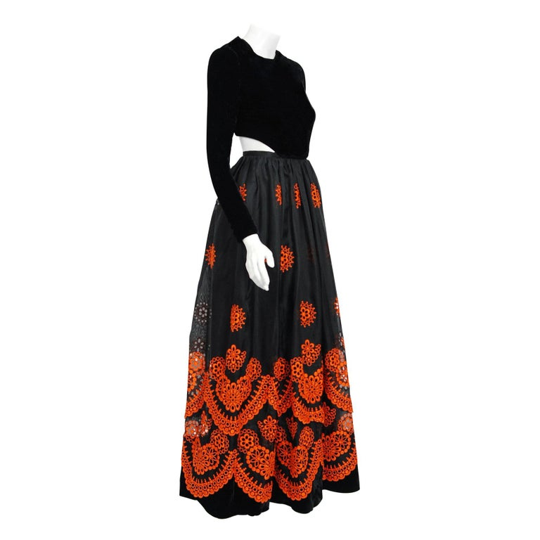 1973 Pierre Balmain Haute-Couture Embroidered Black Orange Organza Cut-Out Gown  For Sale