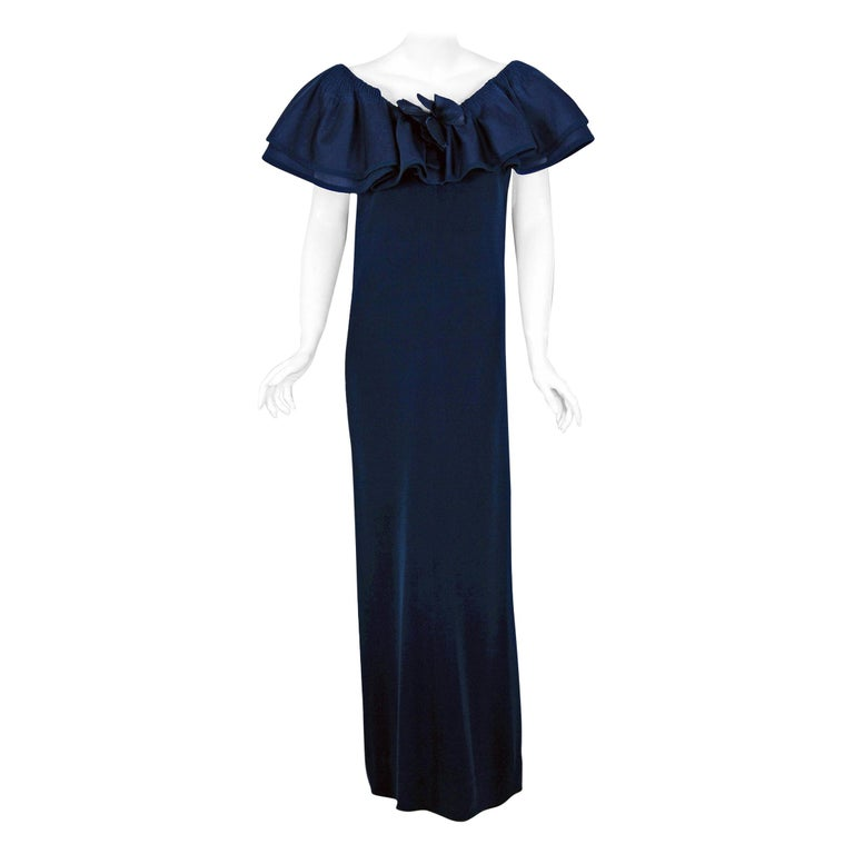 1973 Pierre Balmain Haute Couture Navy Silk Pleated Petal Collar Column Gown For Sale