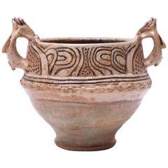 1973 Studio Stoneware Sgraffito Amphora Signed Pollack