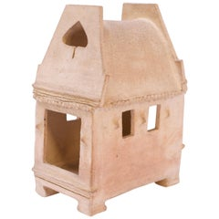 """1973 Unglazed Stoneware """"House"""" Sculpture by Pollack"""