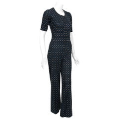 1973 Yves Saint Laurent Rive Gauche Dotted Wool Knit Zip-Up Tailored Jumpsuit