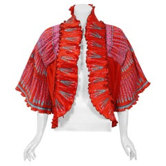 1973 Zandra Rhodes Couture Hand Painted Feather Print Red Pleated Jacket