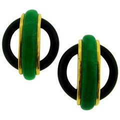 1974 Aldo Cipullo Jade Black Onyx Gold Earrings