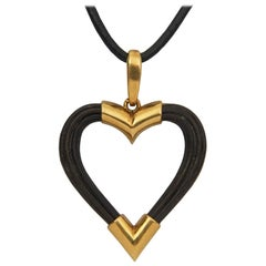 1974 Boucheron Elephant Hair and Gold Heart Pendant