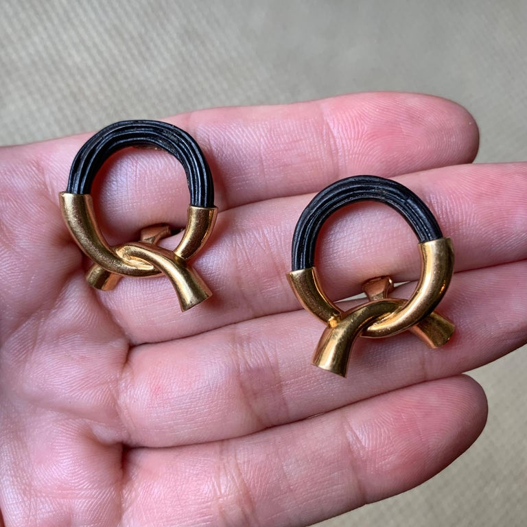 Women's or Men's 1974 Boucheron Elephant Hair and Gold Ear Clips For Sale