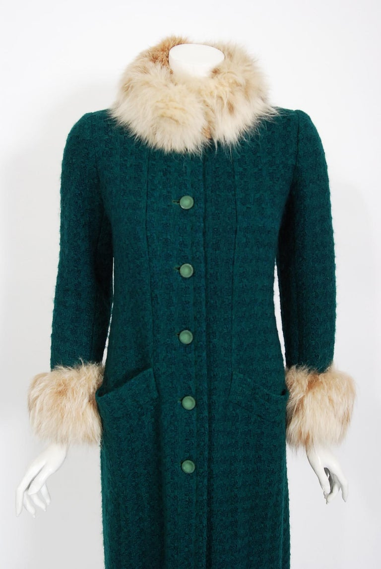 Chanel is known to be one of the most luxurious and decadent fashion houses in the world. This breathtaking forest green boucle wool coat from their 1974 haute couture fall-winter collection is a perfect example of why this couture brand has stood