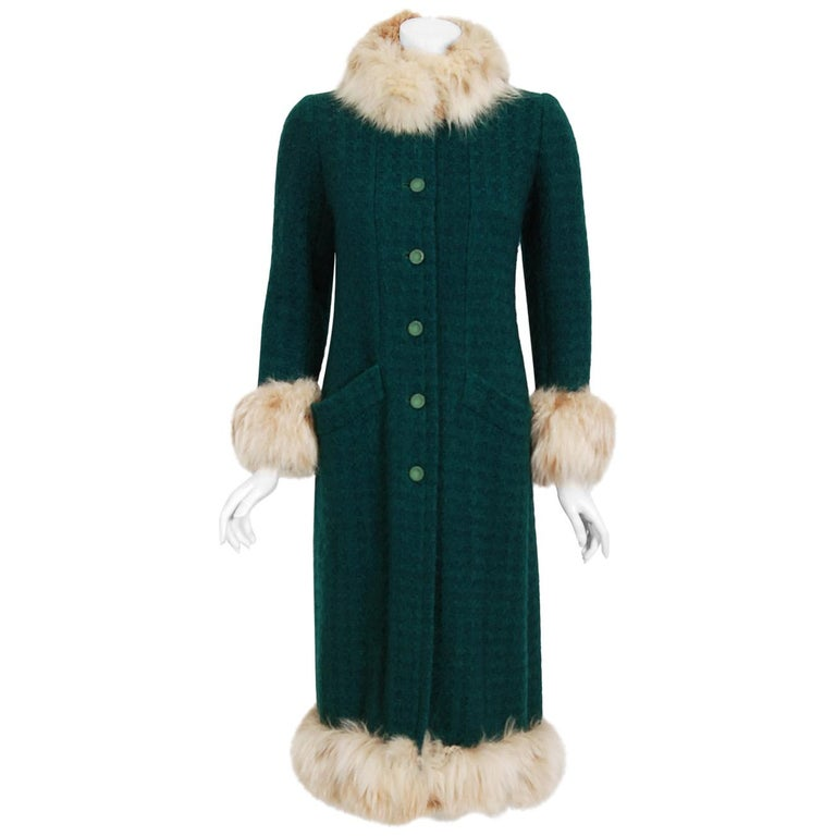 1974 Chanel Haute-Couture Forest Green Boucle Wool & Genuine Fox-Fur Jacket Coat For Sale