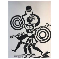 1974 Depero Italy Futurism Black and White Serigraphy on Paper Numbered Edition