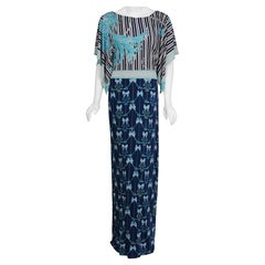 1974 Emilio Pucci Blue Peacock Novelty Print Silk Handkerchief Sleeve Maxi Dress