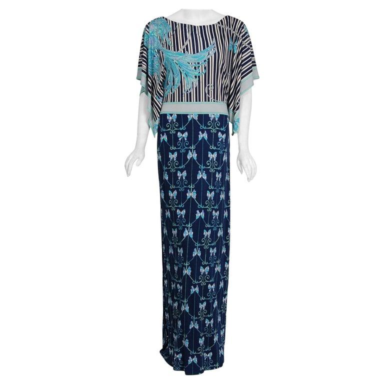 1974 Emilio Pucci Blue Peacock Novelty Print Silk Handkerchief Sleeve Maxi Dress For Sale
