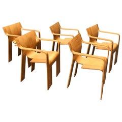 1974, Gijs Bakker Castelijn, 5 Stackable Bended Wood Strip Rare Arm Chairs