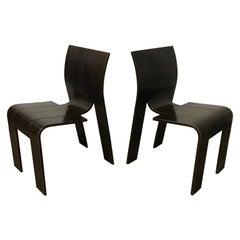 1974, Gijs Bakker, Castelijn, Brown Varnished Stackable Bended Wood Strip Chairs