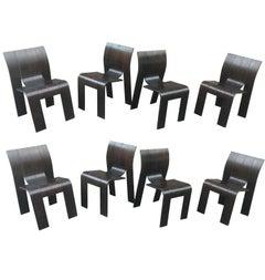 1974, Gijs Bakker, Castelijn, Eight Stackable Bended Wood Strip Chair