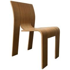 1974, Gijs Bakker, Castelijn, Varnished Stackable Bended Wood Strip Chair