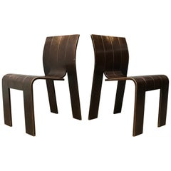 1974, Gijs Bakker for Castelijn, Set of Stackable Bended Wood Strip Chairs
