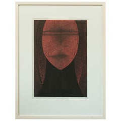 "1974 Graphic Woodblock Print ""Young Girl"" by Tomio Kinoshita, Japan"