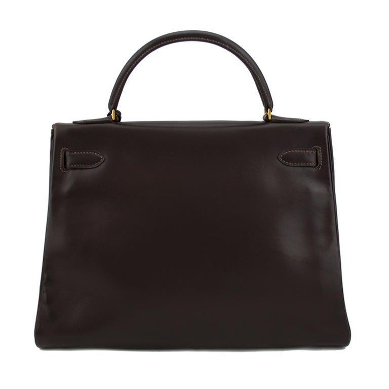 Black 1974 Hermes 32cm Kelly Bag in Dark Brown Box Leather For Sale