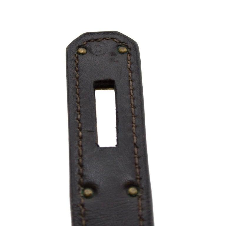 1974 Hermes 32cm Kelly Bag in Dark Brown Box Leather For Sale 3