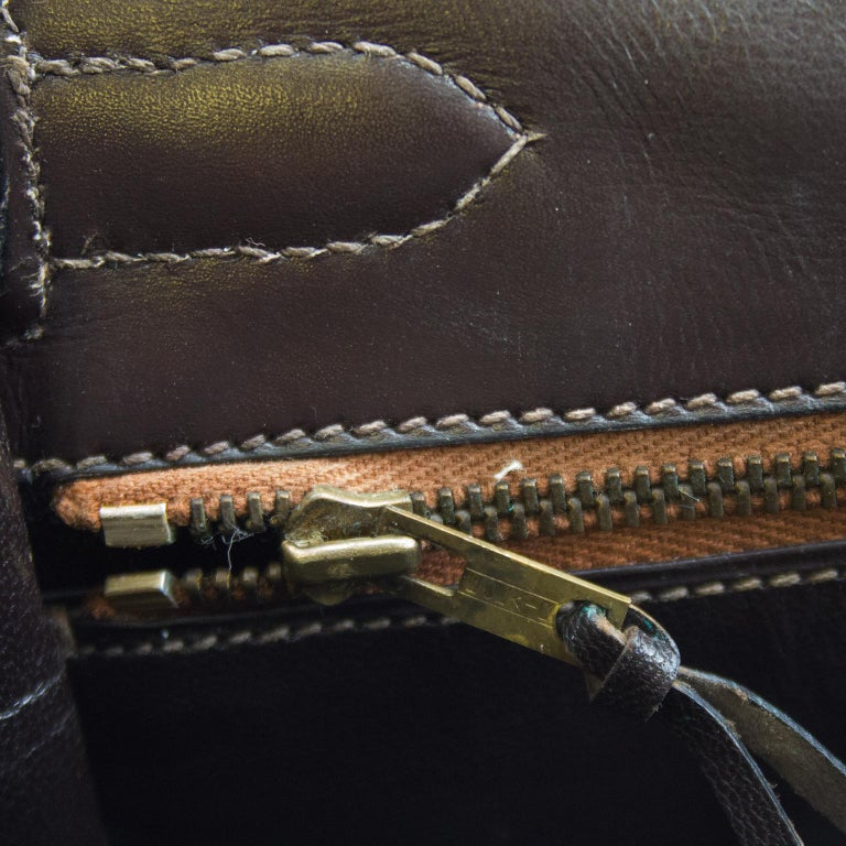 1974 Hermes 32cm Kelly Bag in Dark Brown Box Leather For Sale 4