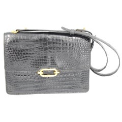 1974 Hermes Fonsbelle Black Crocodile Purse / Bag
