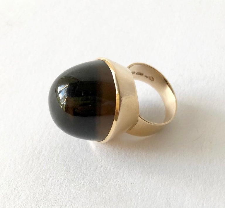 Women's 1974 Kaunis Koru 14K Gold Smoky Quartz High Dome Cabochon Finnish Modernist Ring For Sale