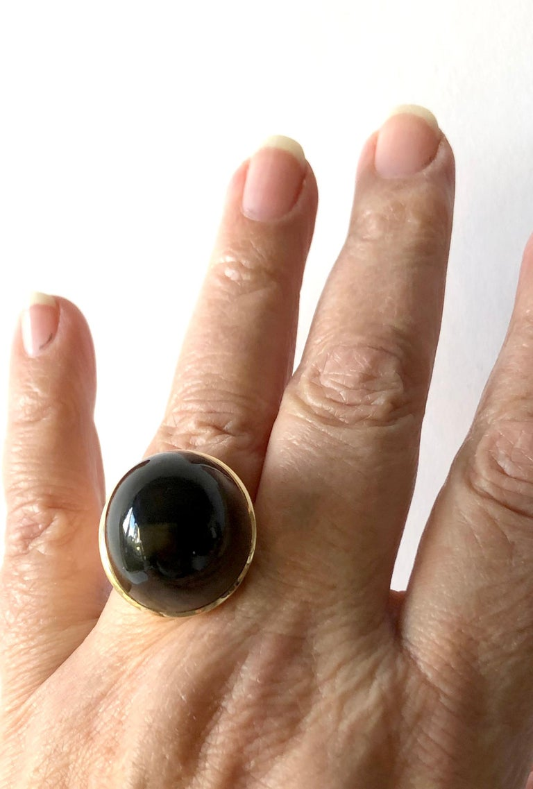 1974 Kaunis Koru 14K Gold Smoky Quartz High Dome Cabochon Finnish Modernist Ring For Sale 1